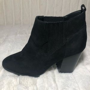 Super cute black suede ankle boots.